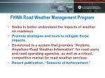 fhwa road weather management program