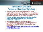 transportation evacuation planning and operations workshops