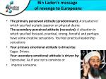 bin laden s message of revenge to europeans