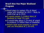 brazil also has major biodiesel program
