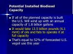potential installed biodiesel capacity