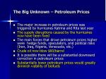the big unknown petroleum prices