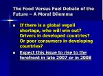 the food versus fuel debate of the future a moral dilemma