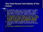 the food versus fuel debate of the future