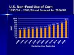 u s non feed use of corn 1995 96 2005 06 and forecast for 2006 07
