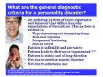 what are the general diagnostic criteria for a personality disorder