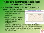 how are turfgrasses selected based on climate4
