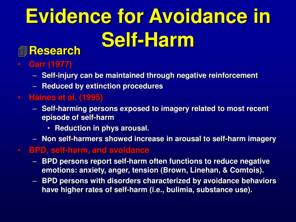 Evidence for Avoidance in Self-Harm