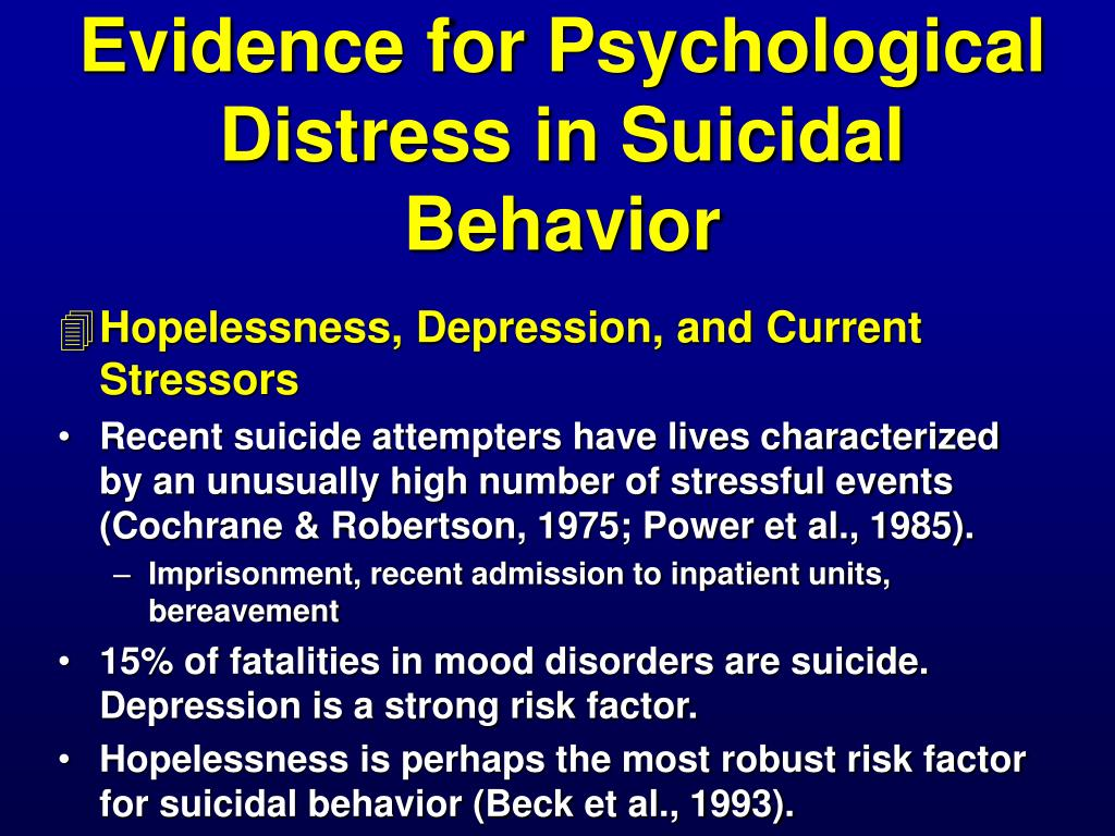 Evidence for Psychological Distress in Suicidal Behavior