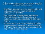 csa and subsequent mental health usa national comorbidity survey