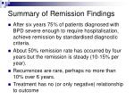 summary of remission findings