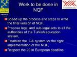 work to be done in nqf