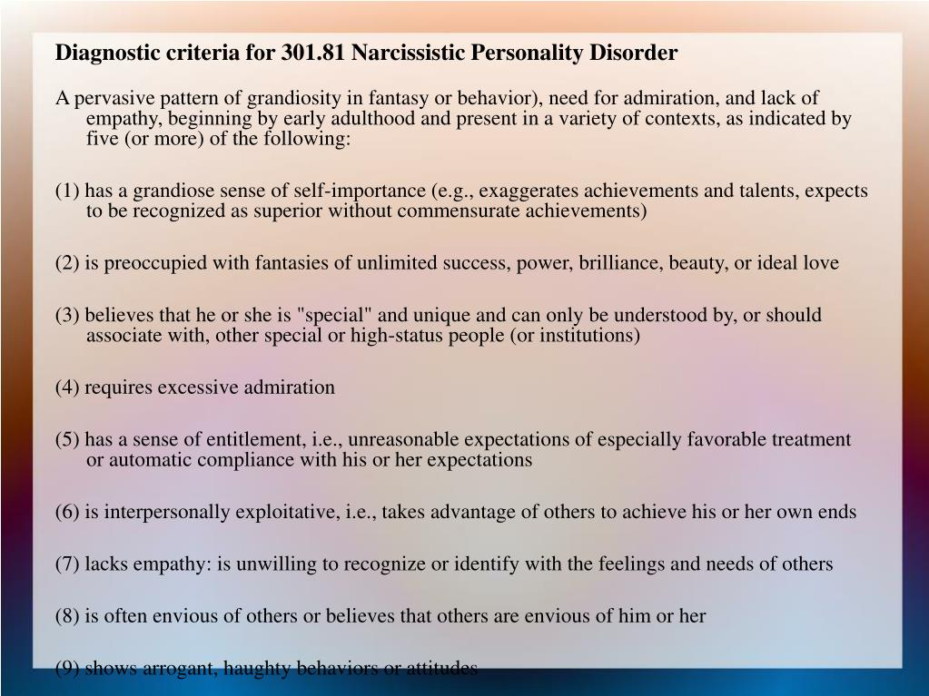 Diagnostic criteria for 301.81 Narcissistic Personality Disorder