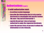 authorizations con t