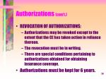 authorizations con t8