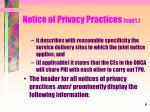notice of privacy practices con t