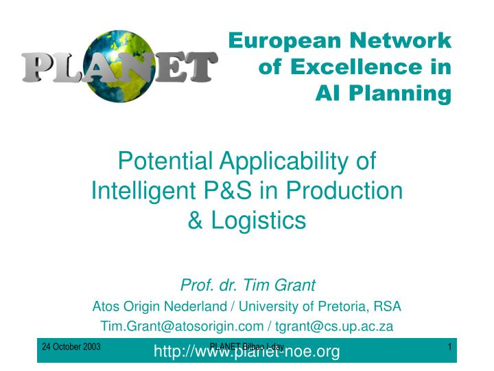 potential applicability of intelligent p s in production logistics n.
