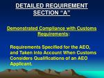 detailed requirement section a