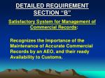 detailed requirement section b