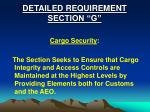 detailed requirement section g