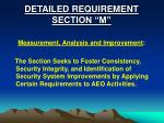 detailed requirement section m