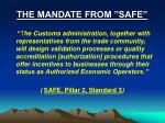 the mandate from safe