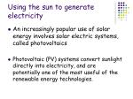 using the sun to generate electricity
