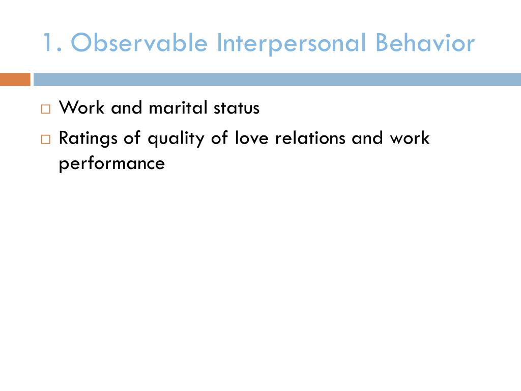 1. Observable Interpersonal Behavior