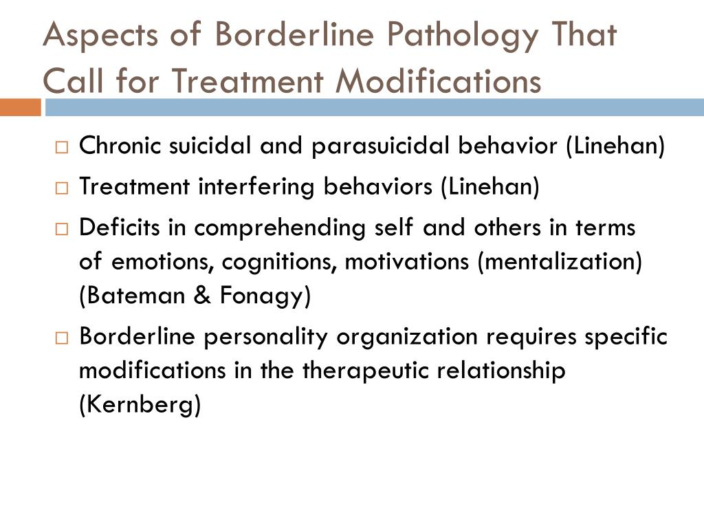 Aspects of Borderline Pathology That Call for Treatment Modifications