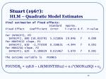 stuart 1967 hlm quadratic model estimates