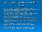 media and women s sports 1920s