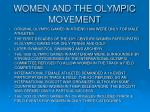 women and the olympic movement
