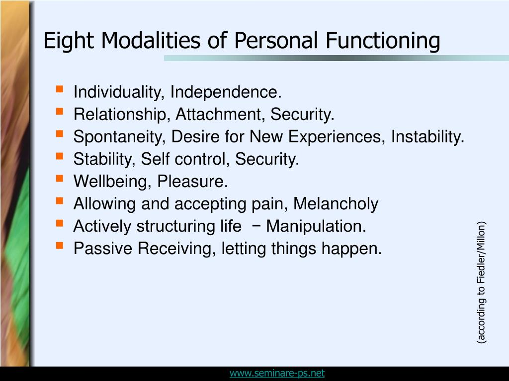 Eight Modalities of Personal Functioning