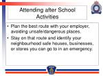 attending after school activities