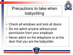 precautions to take when babysitting