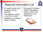 required information list