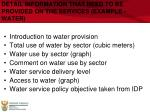 detail information that need to be provided on the services example water