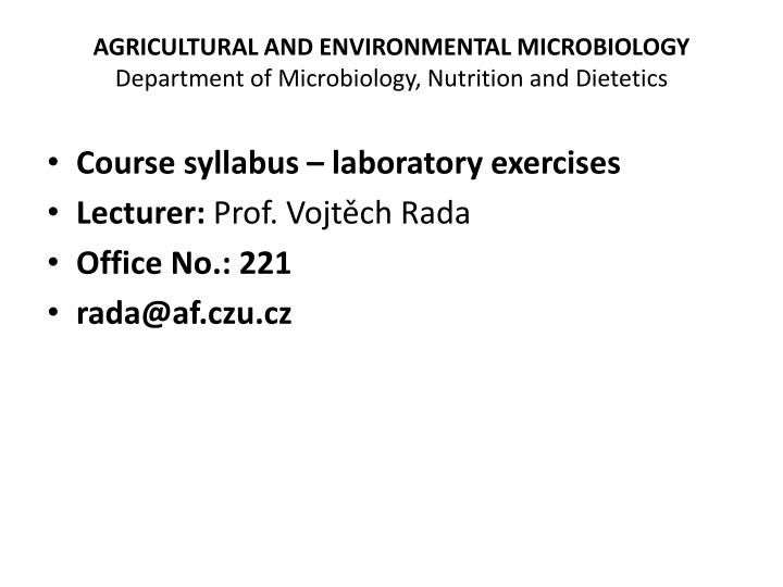 agricultural and environmental microbiology department of microbiology nutrition and dietetics n.