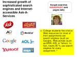 increased growth of sophisticated search engines and internet accessible ask a services
