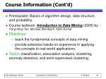 course information cont d