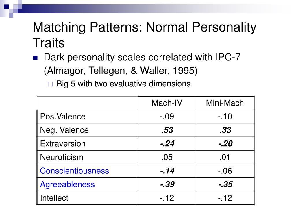 Matching Patterns: Normal Personality Traits