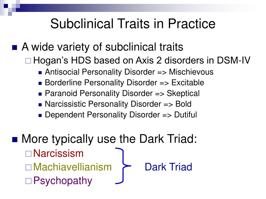 Subclinical Traits in Practice