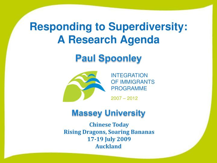 responding to superdiversity a research agenda n.