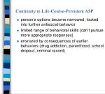 continuity in life course persistent asp