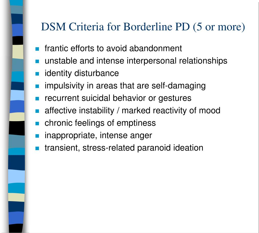 DSM Criteria for Borderline PD (5 or more)