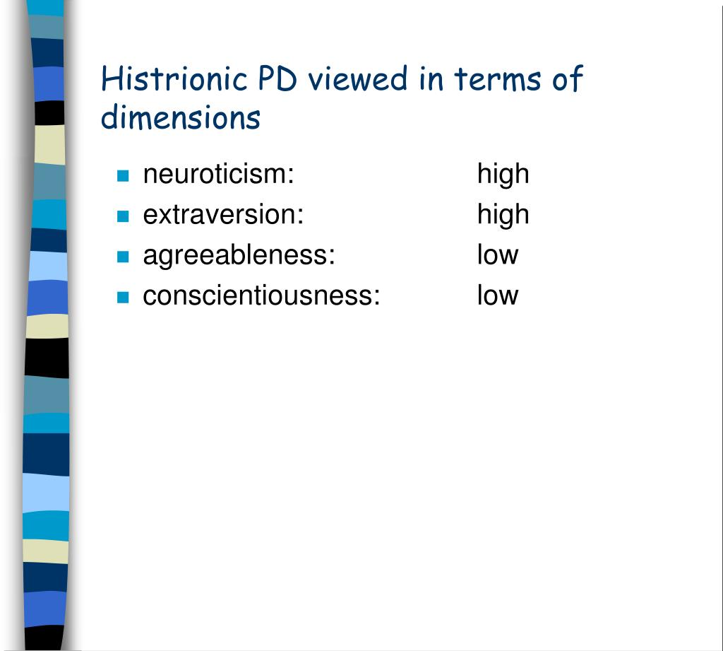 Histrionic PD viewed in terms of dimensions