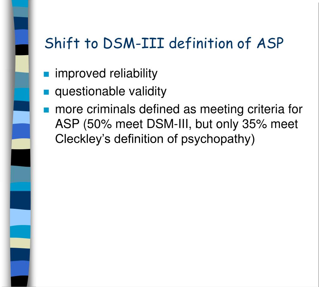 Shift to DSM-III definition of ASP