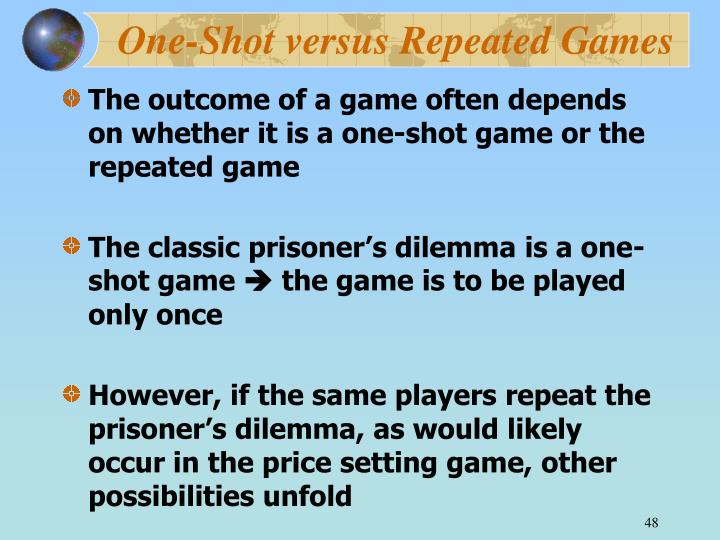 One-Shot versus Repeated Games