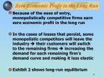 zero economic profit in the long run1