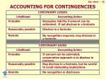 accounting for contingencies